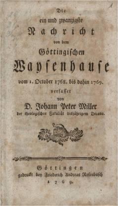 """Deckbalt der """"neun und zwanzigsten Nachrichten von dem göttingischen Waisenhause"""", 1777, s. Link unten"""